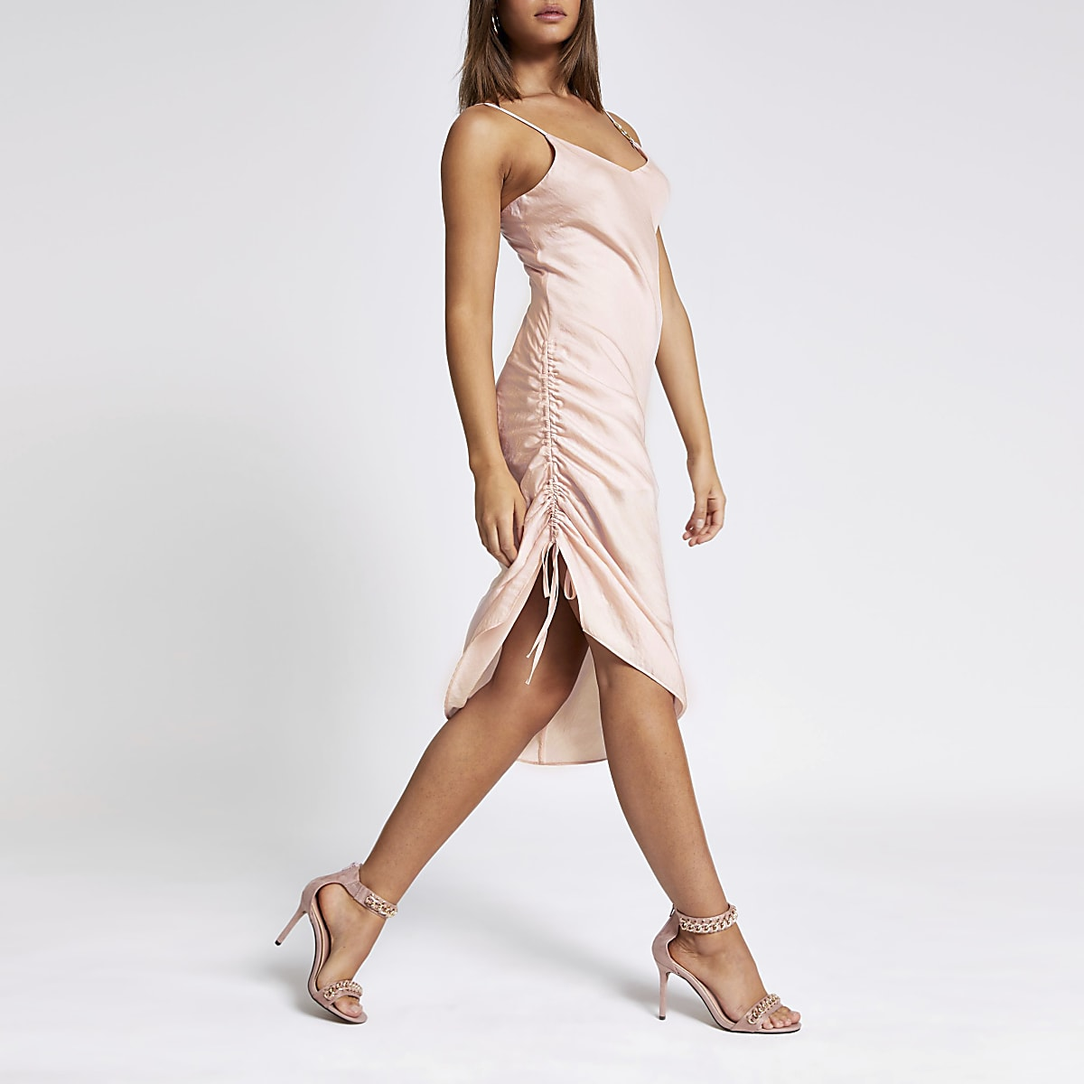 Pink ruched slip midi dress
