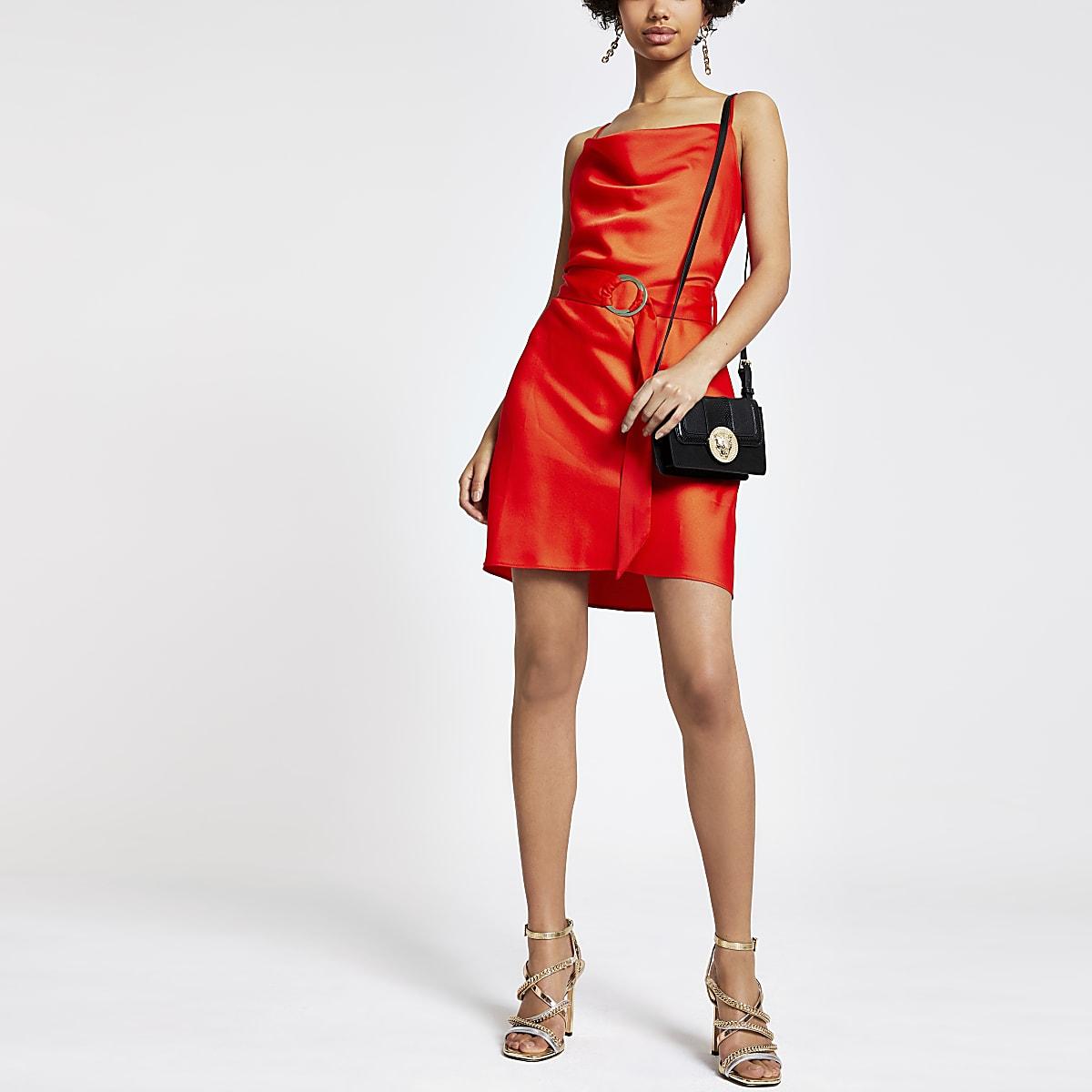 Red cowl neck belted slip dress