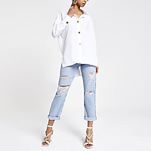 91271ed7638d2 White long sleeve tunic shirt