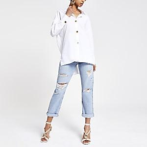 Chemise blanche à manches longues style tunique