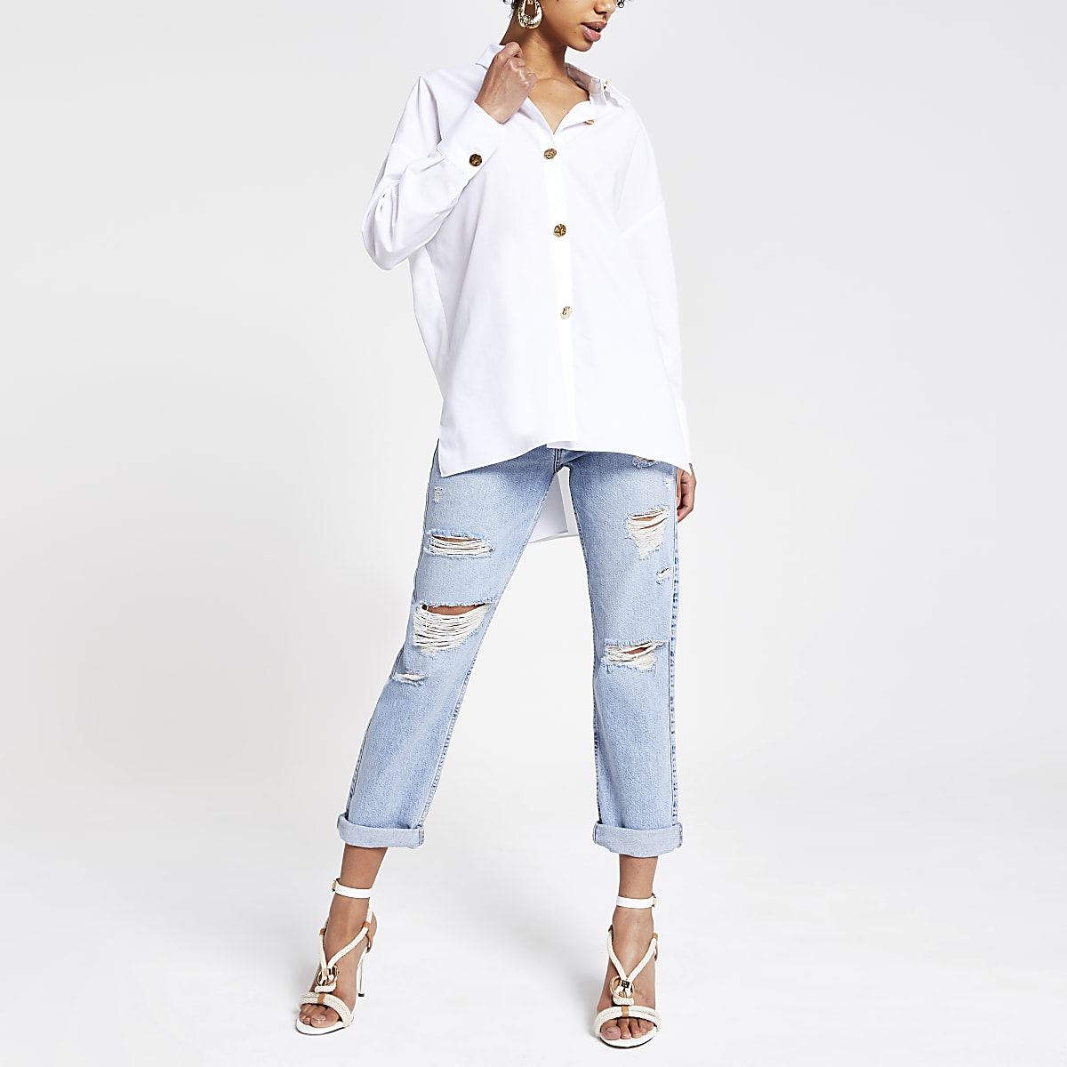 White long sleeve tunic shirt