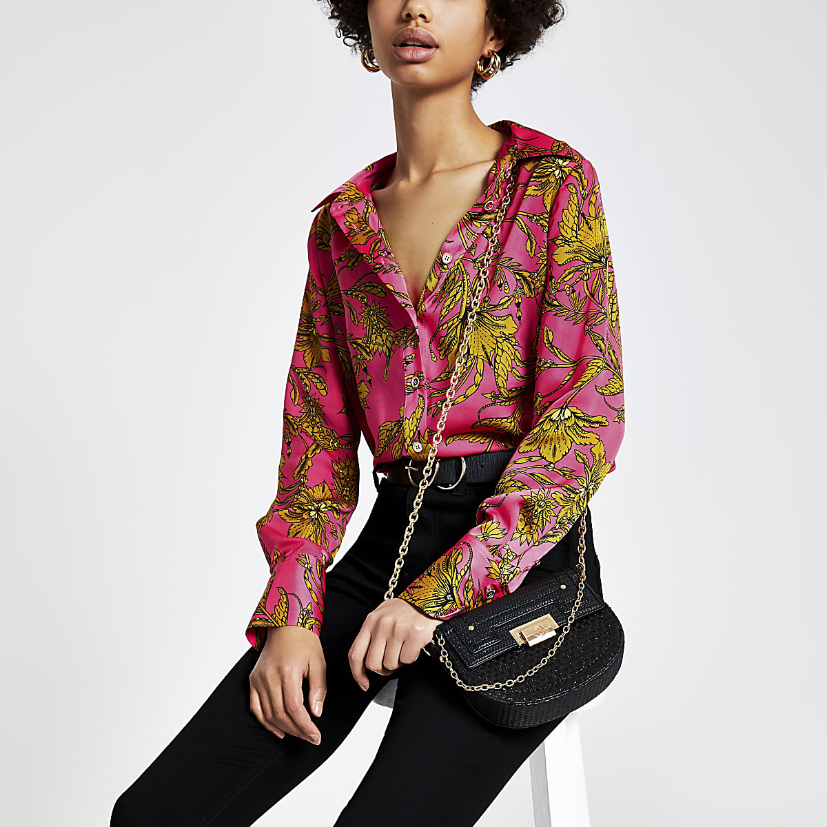 Pink print long sleeve shirt