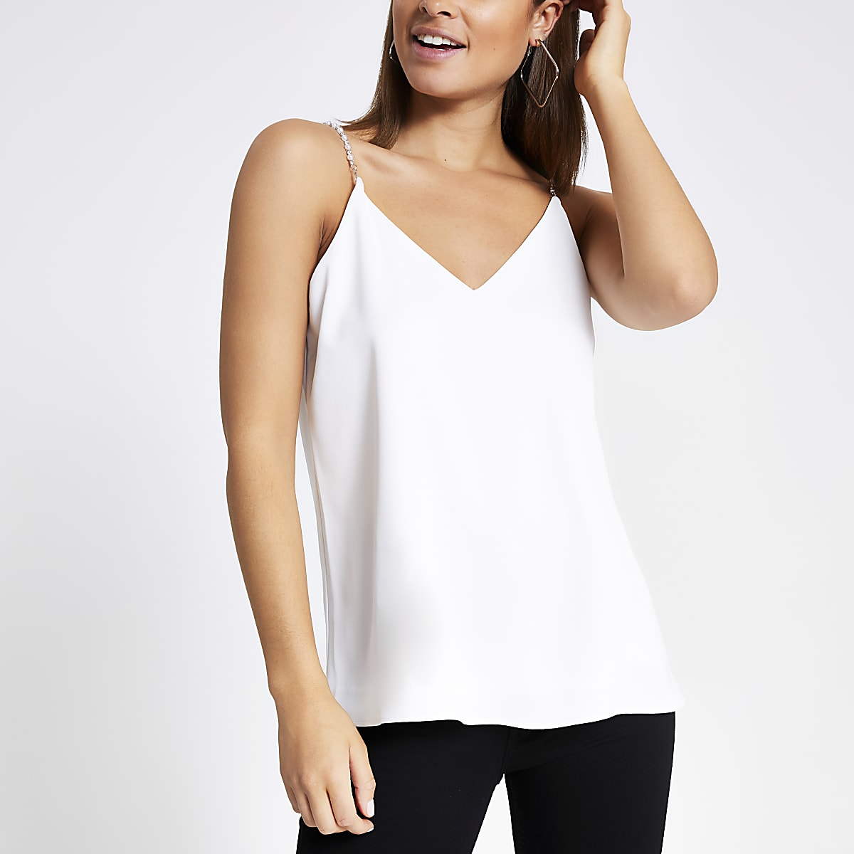 White embellished cami top