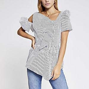 Black stripe frill bardot top