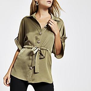 Kaki overhemd met strikceintuur
