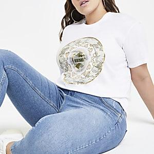 Plus – T-shirt à imprimé cercle métallisé blanc