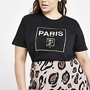 Plus black 'Paris' T-shirt