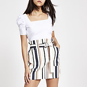 White stripe belted skirt