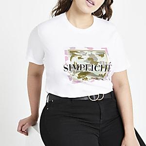 Plus – T-shirt imprimé camouflage blanc