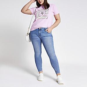 RI Plus - Roze T-shirt met print