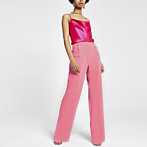 Pantalon large rose