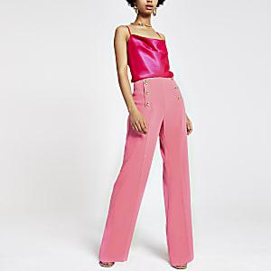 Roze broek met wijde pijpen