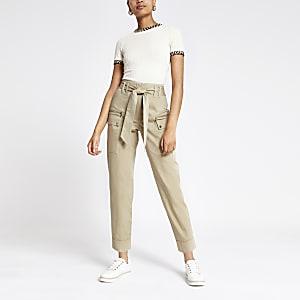 Beige utility peg trousers