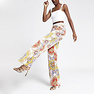 Pink print wide leg trousers