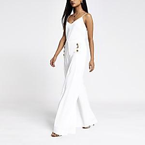 Petite – Pantalon large blanc