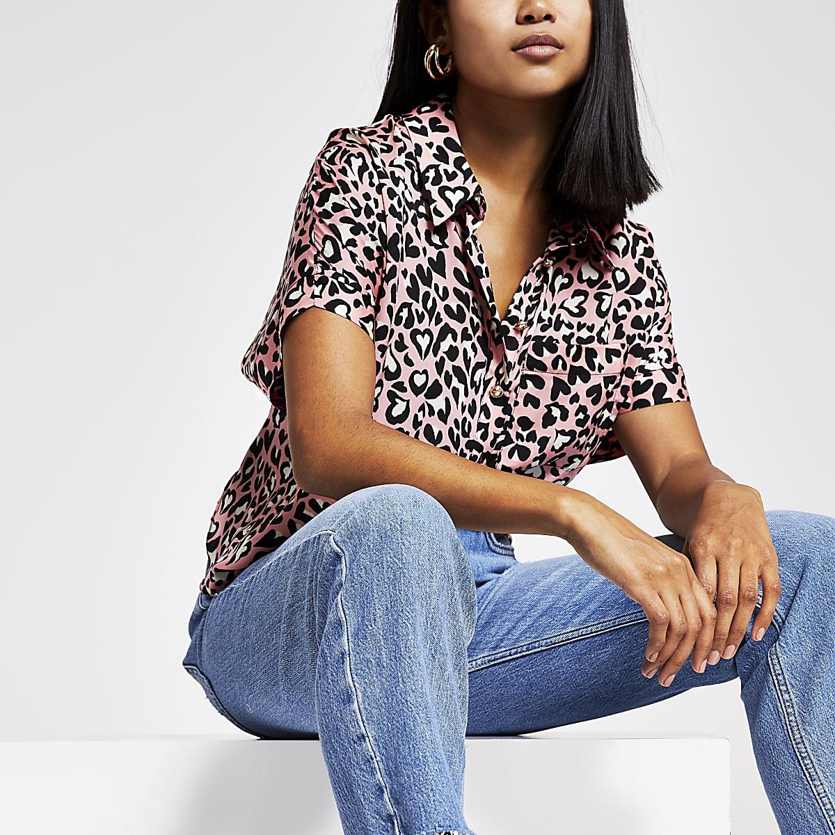 RI Petite - Roze overhemd met luipaardprint