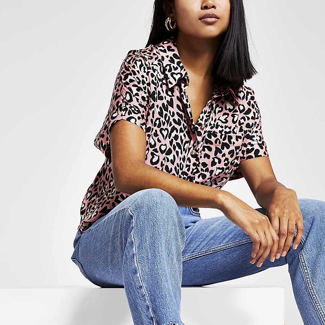 Petite pink leopard print shirt