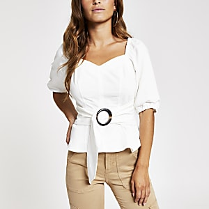 Petite white tie waist tea top