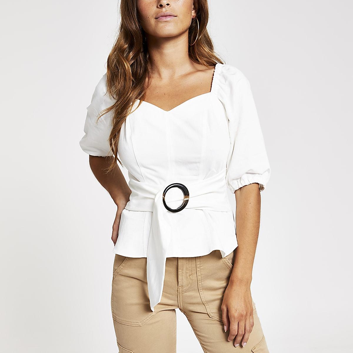 Petite white tie waist tea top