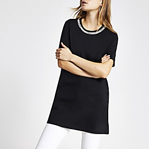 Black embellished longline T-shirt