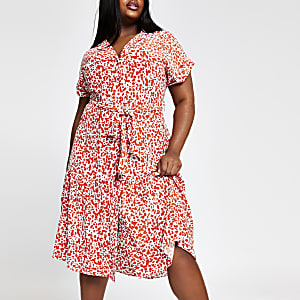 Plus red print midi shirt dress