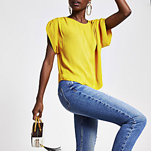 Yellow ruched sleeve top