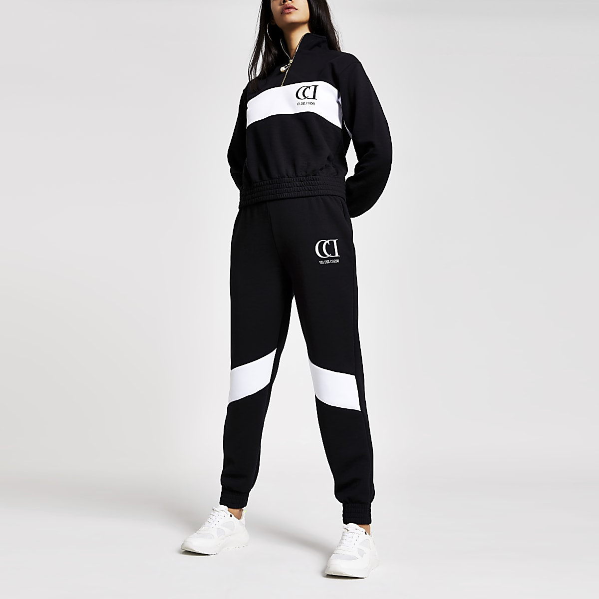 Pantalon de jogging colour block noir