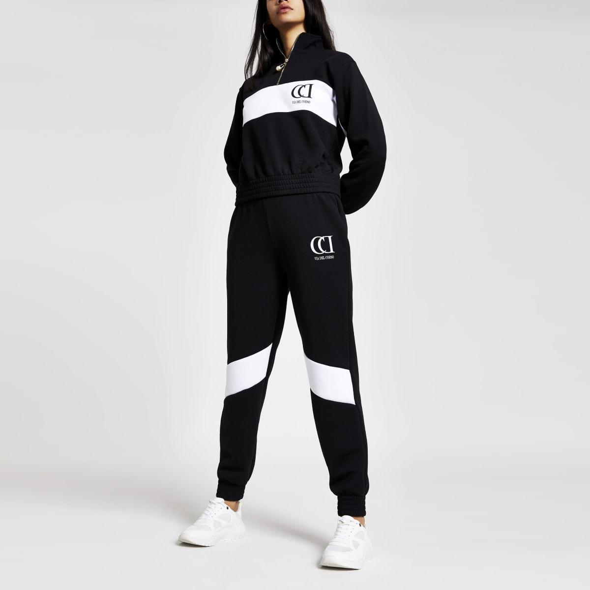 Pantalon de jogging colour block noir