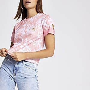 Pink tie dye crop T-shirt