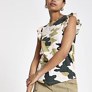 Pinkes Tanktop mit Camouflage-Muster
