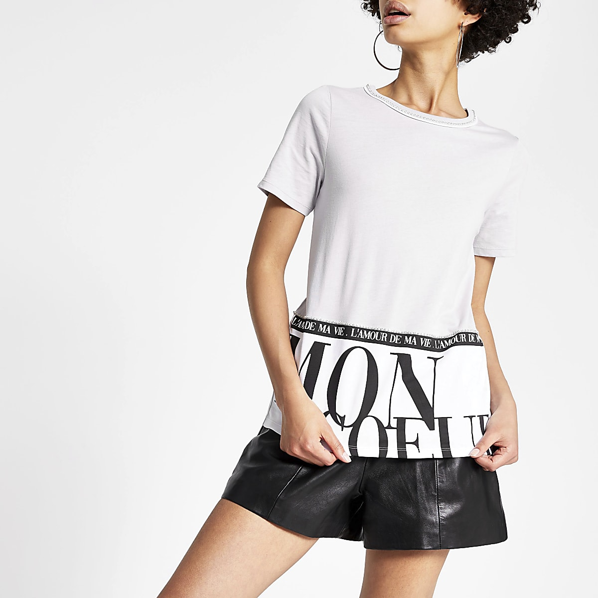 Grey printed embellished hem T-shirt