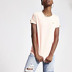 Neon orange RI turn up sleeve T-shirt