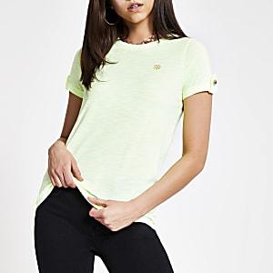 Neongeel T-shirt met RI-logo en omgeslagen mouwen