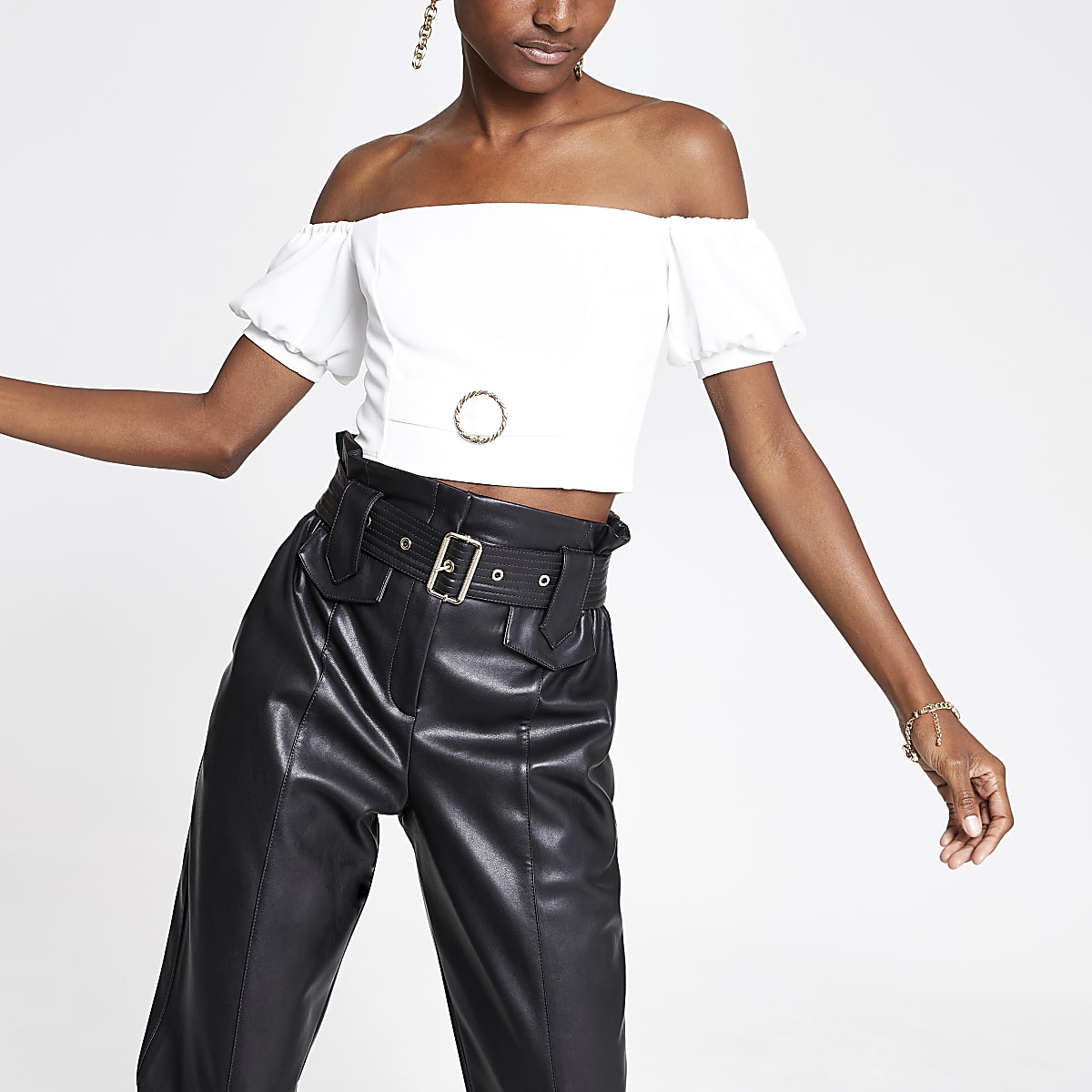 White puff sleeve bardot crop top