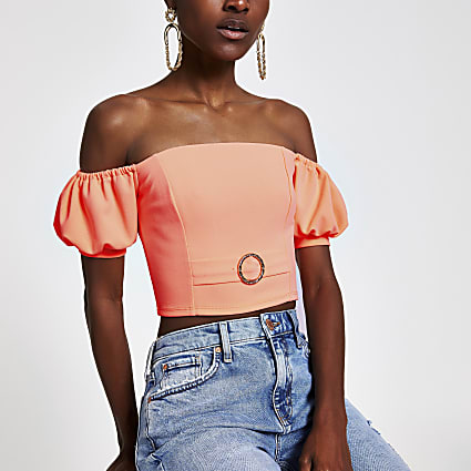 Coral puff sleeve bardot crop top