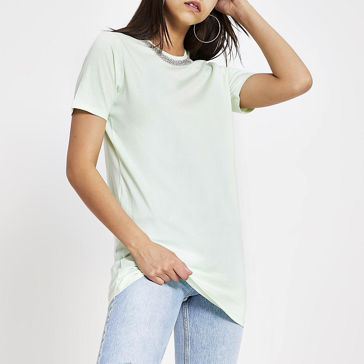 Lichtgroen lang verfraaid T-shirt
