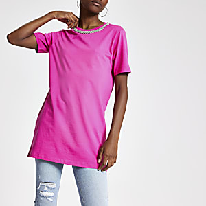 T-shirt long orné rose