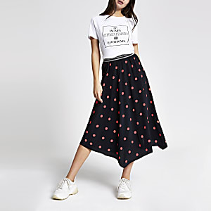 Black spot asymmetric midi skirt