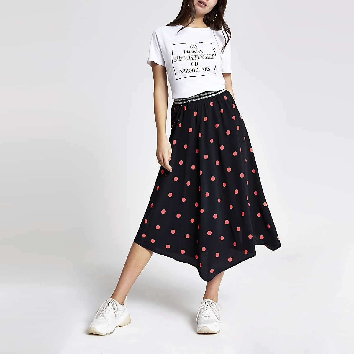 Black spot asymmetric midi skirt