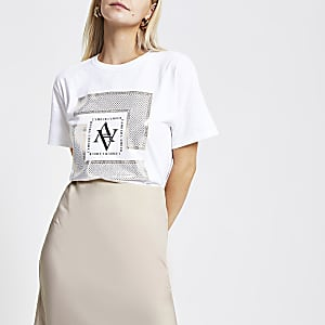 Petite white foil print T-shirt
