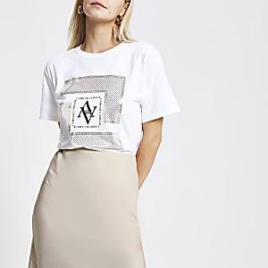Petite – T-shirt imprimé métallisé blanc