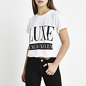 Petite white 'luxe' print cropped T-shirt