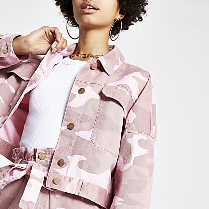 Pink camo utility jacket