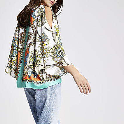Turquoise scarf print cape top