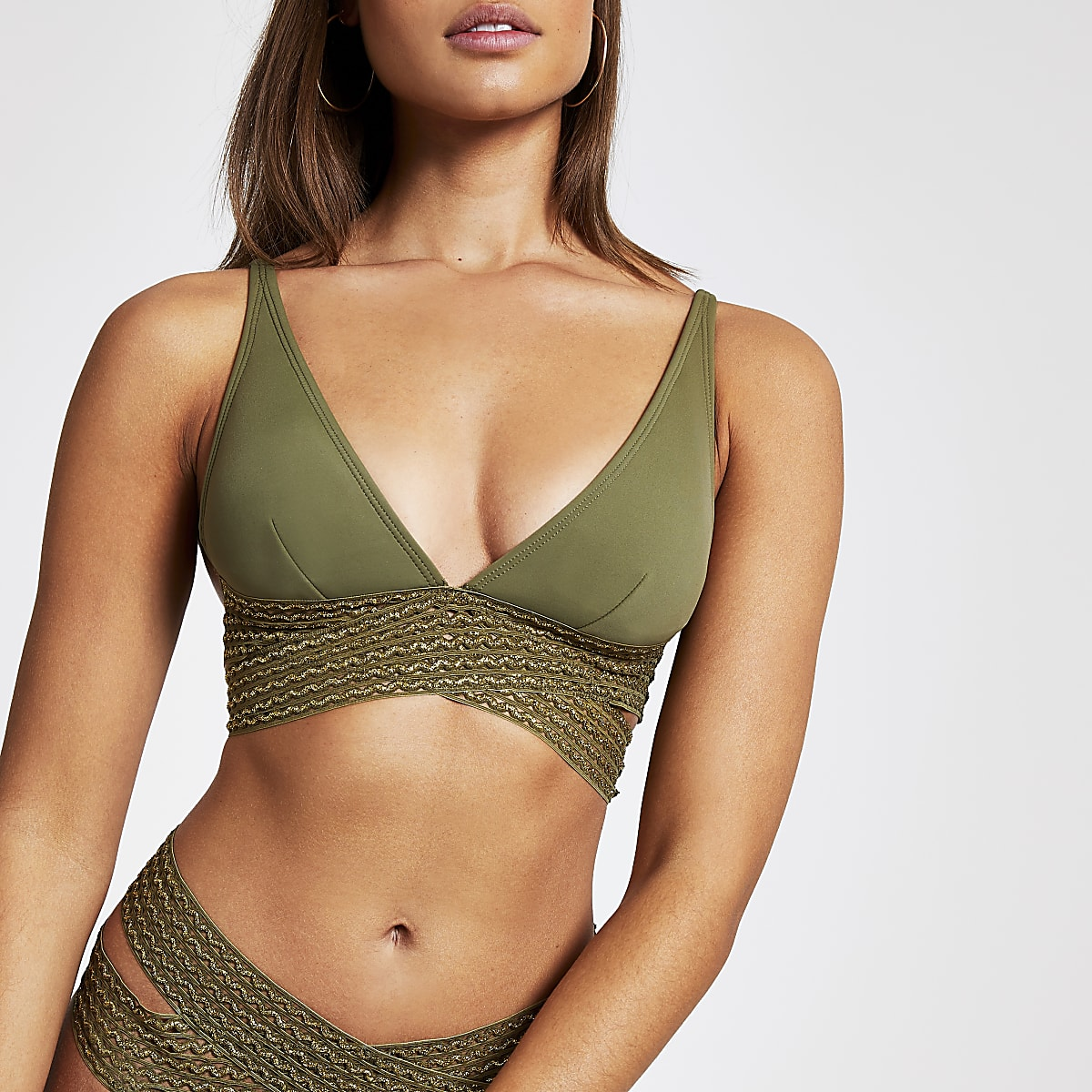 Khaki elastic wrap high apex bikini top