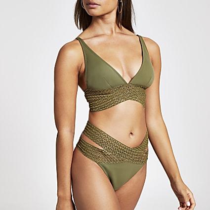 Khaki elastic wrap high leg bikini bottoms