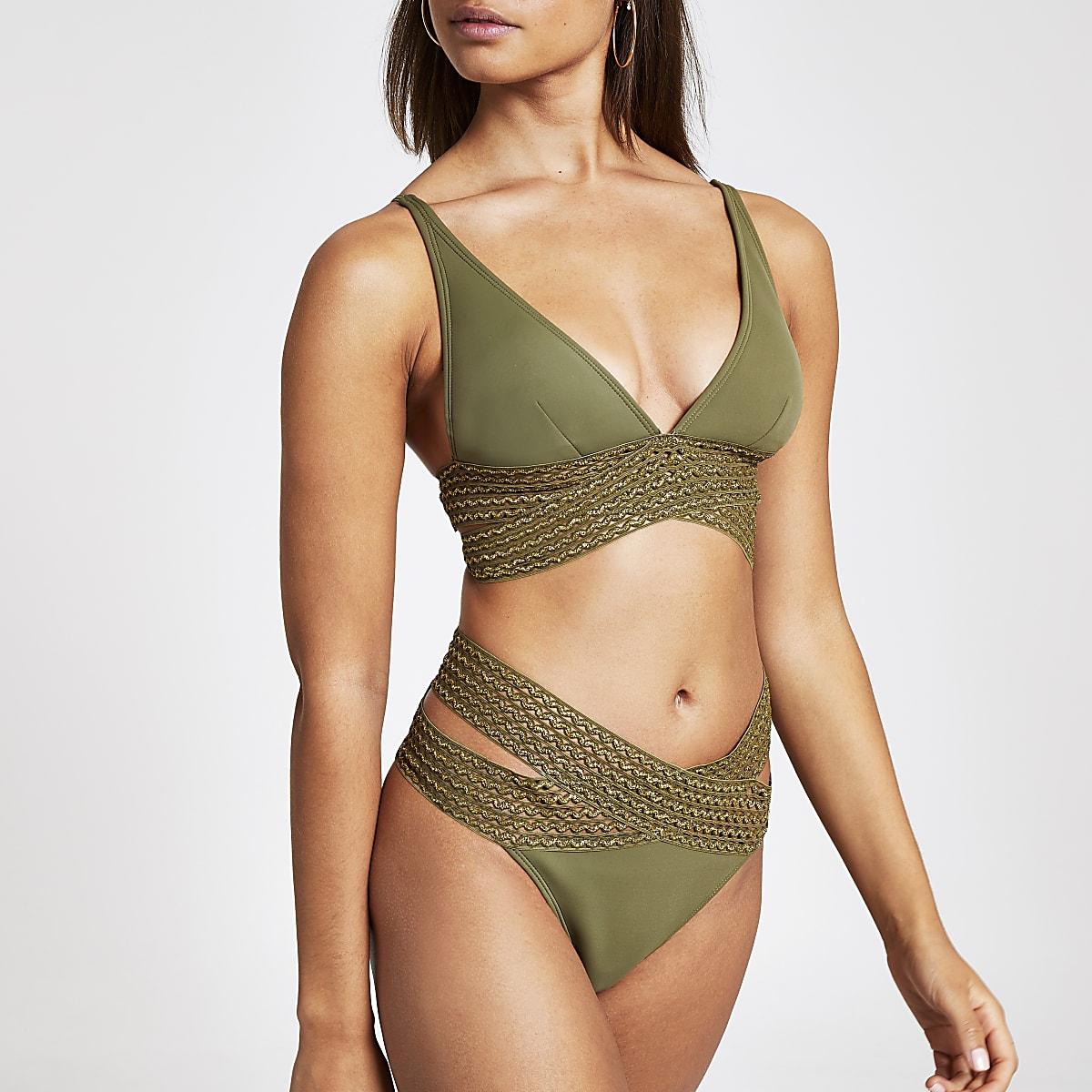 Kaki elastisch hoog opgesneden bikinibroekje met overslag