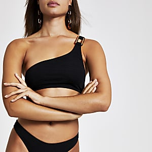 Black textured one shoulder cami bikini top