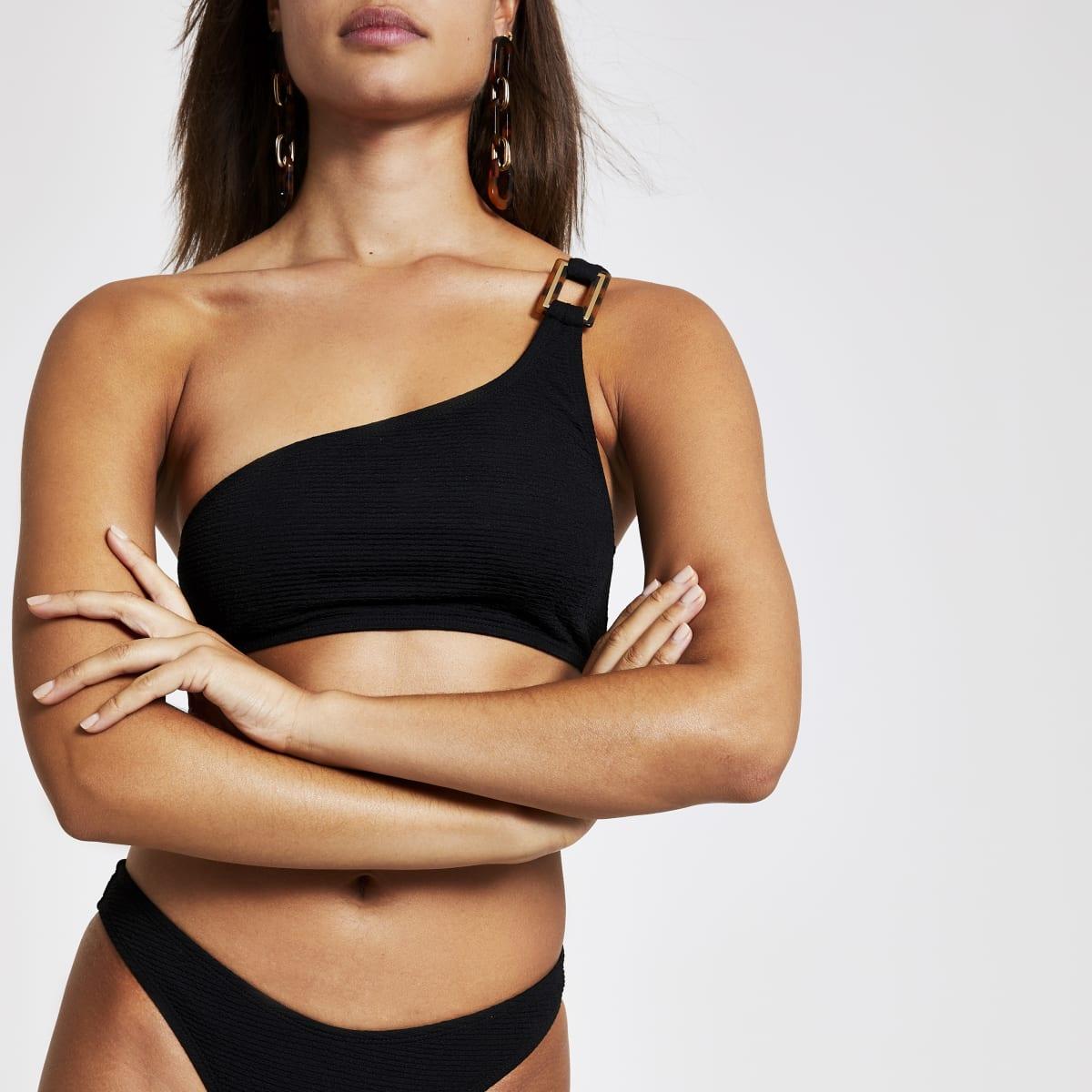 Haut de bikini caraco asymétrique noir texturé