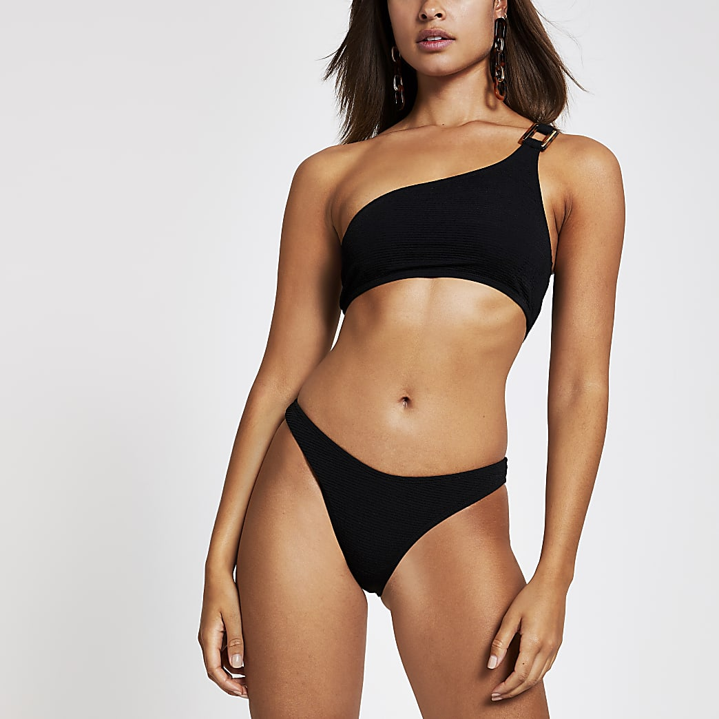 Black textured high leg bikini bottoms